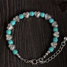 Women's Silver Heart Turquoise Stone Bracelet. UK Seller