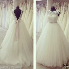 New Ivory White Lace Wedding Dress Bridal Gown Custom Size 6 8 10 12 14 16 18+++