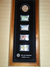 Vintage 1983, XXIII OLYMPIAD Silver Coin & Airmail Stamp Set by N. Y. Telephone