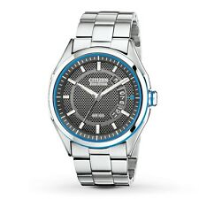 CITIZEN AW1141-59E MEN'S ECO-DRIVE BLACK DIAL DATE W/R 100 M STAINL. STEEL WATCH