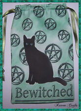 Pentacle Black Cat Tarot Card Bag ideal for most fairy angel & Wicca tarot cards