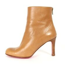 CHRISTIAN LOUBOUTIN Tan Leather MISS TACK Round Toe Ankle Boots 36