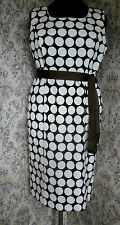 Cotton mix party dress CC PETITE COUNTRY CASUALS Size 16 Brown with cream spots