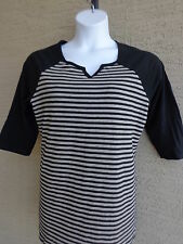 NEW Just  My Size 2X 3/4 Raglan Sleeve Notch Neck Striped Tee Top Black & Gray