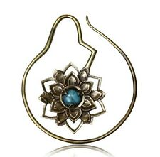 PAIR 14g LOTUS BLOOM ORNATE BRASS TURQUOISE PLUGS EARRINGS GAUGES HOOPS GAUGE
