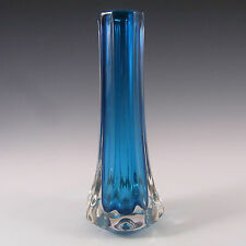 Whitefriars/Baxter Kingfisher Blue Glass Eight Sided Vase #9781