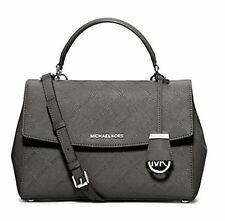 NWT MICHAEL KORS Ava Medium Diamond Stitched Satchel Steel Grey Bag $328