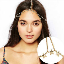 Ethnic Goddness Gold Head Stars Chain Tassel Metal Headband Headpiece Hair band
