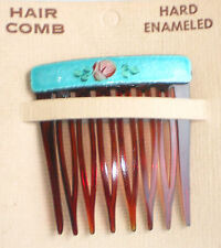 #1253C Vintage Hair Comb Guilloche Enamel Hard Enameled Carded Floral Flowers