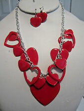 Multi Red Heart Drops Epoxy Coating Silver Tone Necklace Earring Set