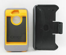 OtterBox Defender Hard Case w/Belt Clip Holster for iPhone 4s 4 Gray/Yellow USED