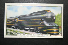 Pennsylvania Railroad Streamlined Steam Locomotive  Vintage Card # VGC