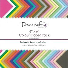 DOVECRAFT ESSENTIALS COLOURS PLAIN PAPER PACK - 6 X 6 SAMPLE PACK  - 24 SHEETS