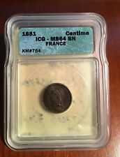 FRANCE  1851  1 CENTIME COIN CHOICE UNCIRCULATED, ICG CERTIFIED MS-64-BN