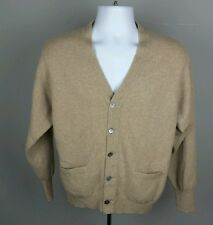 Panda Men's 44 Tan 100% Cashmere Button Down Cardigan Sweater