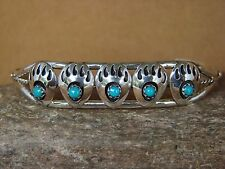 Navajo Indian Sterling Silver Turquoise Bear Paw Row Bracelet! Handmade