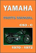 YAMAHA Parts Manual CS3C CS3 1970 1971 & 1972 Replacement Spares Catalog List