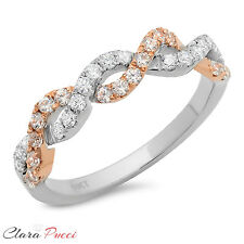 0.6 CT Round Cut Twisted Wedding Engagement Ring Bridal band 14k White/Rose Gold
