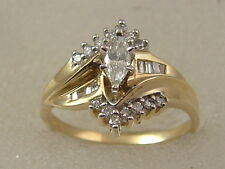 14K MARQUISE DIAMOND ENGAGEMENT RING 14 KARAT GOLD BAGUETTE ROUND DIAMOND ACCENT