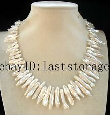 "freshwater pearl  white biwa toothpick nature necklace 18""  wholesale beads"