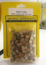 """Model Shipways Fittings MS 0311BW Walnut Dbl Block 1/4"""" (7mm) 160 Per PK"""