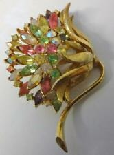 Vintage Signed Coro Craft Rhinestone Flower Gold Tone Pin Brooch RARE