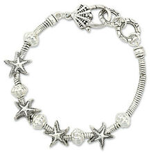 PERIWINKLE by BARLOW Silver Cable Starfish Seashell Bead Bracelet NWT 1148