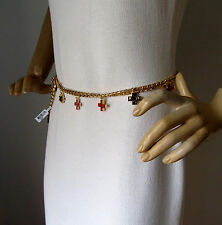 NEW ST JOHN KNIT WOMENS S/M GOLD CHAIN CHARM BELT OR NECKLACE RED BLACK CROSS