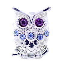 Vintage retro Art Deco style owl stretch charm ring