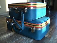 Vintage Luggage Set Ventura Suitcase Train Case Blue Carry On Makeup Mid Century