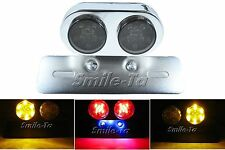 Smoke Motorcycle Bike LED Tail Light Integrated Indicators Chrome Plate Holder