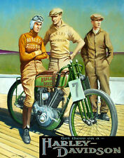"MOTORCYCLE BIKE GET THERE ON A HARLEY DAVIDSON VINTAGE POSTER REPRO 12"" X 16"""