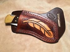 Buck 110/112 Custom Leather Crossdraw Sheath w/feather (right hand)