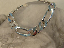 """STERLING SILVER FIGARO LINK LARGE BRACELET HEAVY STRONG ITALY 925 ITALIAN 8.25"""""""