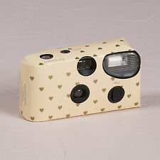 Ivory with Gold Hearts Disposable Camera Favour Accessory 10 Pack