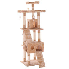 "New 66""Cat Tree Tower Condo Furniture Scratching Post Pet Kitty Play House Beige"