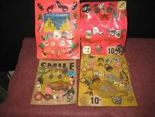 Four Gum Ball Vending Machine Insert cards: Prizes Toys, Charms. Moisture damage