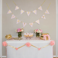 Pastel Pink and Gold Perfection Happy Birthday Bunting Banner