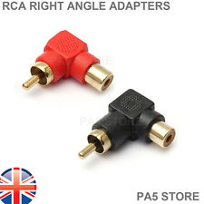 2x Gold Right Angle 90° RCA Phono - Male to Female Adapters Audio Visual Amp UK