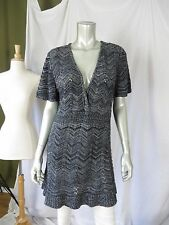 VENEZIA 14/16 Made in USA  Acrylic Gray Loose Knit Tunic Sweater Dress Pullover