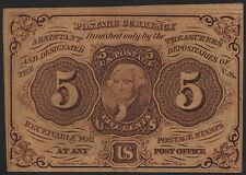 Fr1230 5¢ 1St Issue Fractional Currency Straight Edge W/ Monogram Au Br8038