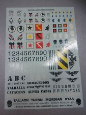 WARHAMMER 40K - IMPERIAL GUARD TANK TRANSFERS - COMPLETE DECALS