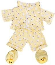 "YELLOW CHICKEN PJ PYJAMAS & SLIPPERS TEDDY OUTFIT FITS 16"" (40cm) BUILD A BEAR"