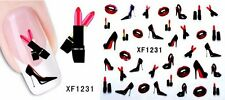 NAIL ART STICKERS WATER DECAL NAIL TRANSFER WRAPS LIPSTICK LIPS HEELS STZ035