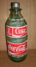 Vintage 2 Liter Glass Coca-Cola Bottle - Old Coke Soda Pop - Return For Deposit