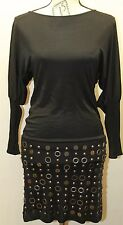 Guess By Marciano Women Little Black Dress Long Sleeve Boho Metal Beading XS
