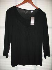 CHICO'S Fabulous Fringe Black  3/4 Sleeve Shirt Top Size 1 (8-10) NWT $59.00