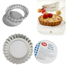 6* Loose Base Tart Tins Round Pie Flan Baking Tala Cake Mould Flunted Tray 10cm