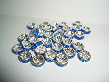 20 pcs Blue silver plated rhinestone rondelle spacer beads jewellery findings