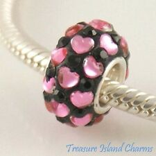 PINK HEARTS ON BLACK CZ CRYSTAL .925 Sterling Silver EUROPEAN EURO Bead Charm